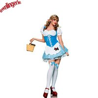 Wholesale sexy alice cosplay costume Alice in Wonderland theatre stage costume for women blue and white apron alice costume