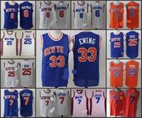 anthony new york - A New York Kristaps Porzingis Carmelo Anthony Derrick Rose Patrick Ewing blue white jersey for mens