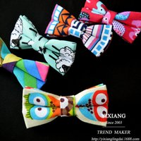 Wholesale Foreign trade Korean new Korean men canvas tie totem animal cartoon flower geometric ethnic bow ties spot