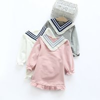 american marines - 2016 quality girls dresses Long sleeve striped V neck Marine dresses terry cotton Sweet kids clothes children clothing