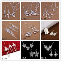 Wholesale 6 sets mixed style women s sterling silver jewelry sets hot sale fashion silver Necklace Earring jewelry set GTS34 factory direct sale