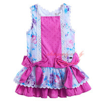 baby designer boutique - 2016 Pettigirl Designers Boutique Tank Double Bows Girl Lace Dress Florals Print Hot Pink Lining Knee Lenhht Baby Kid Clothes G DMGD905