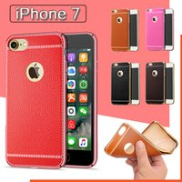 Plastic apple patterns - NEW Lichee Pattern Soft TPU Rubber Electroplating Plating PU Leather Slim Ultra Thin Back Cover Case For iPhone S Plus S SE