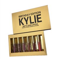 Wholesale new Kylie Jenner Limited Birthday Edition Kylie Matte liquid Lipstick mini gold Kylie lip kit