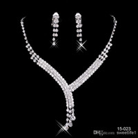 bridal necklace - 2016 Fashion Cheap In Stock Elegant Wedding Bridal Prom Rhinestone Crystal Jewelry Necklace Earring Set Silver Plated Lobster clasp