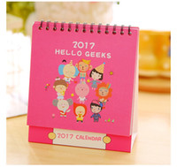 Wholesale 2017 calendar cartoon mini desktop Office paper calendar Creative cute desk calendar PAPER QUALITY GOOD GIFTS FOR KIDS AND COMPANY MEMBER