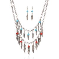 african fashion trends - fashion trend retro leaf multi layer beaded tassel statement necklace choker necklace earring jewelry set hot sale