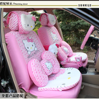 Wholesale set Cute Cartoon Hello Kitty Head Bow Comfortable Pink Car Seat Covers Car Accessories