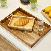 candy dish - Handmade Party Serving Tray Dinner Plate Dish Creative Natural Rubber Wood Rectangle Dish Candy Fruit Tray Serving Plate Wooden Dinnerware