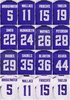 Wholesale 2016 Minnesota football jersey Vikings Soccer rugby jerseys Smith Peterson Bridgewater Purple White freeshipping