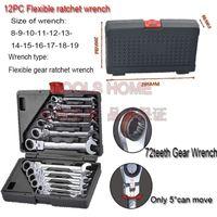 Wholesale set Chrome Vanadium metric Flexible ratchet wrench set spanner set gear wrench set car repairing tools