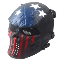 Wholesale Halloween Caption Full Tactical Skull Airsoft Mask Outdoor Paintball facemask Skeleton Skull Face Protection Tactical Hoods