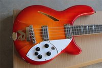 Wholesale Best8guitar High Quality Rick Semi Hollow Cherry Red Strings Electric Bass Guitar