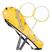 Wholesale 1 Pair Lightweight Badminton Rackets Titanium Alloy Training Badminton Racket Racquet with Carry Bag Durable Sport Equipment