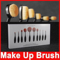 Cheap 2016 hot 10pcs set Tooth Brush Shape Oval Makeup Brush Set Professional Foundation Powder make up brushes Makeup Tool with retail box LOGO