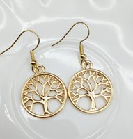 Wholesale gold silver plated tree of life earrings women fashion life tree peace charm earrings