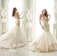 Wholesale 2016 Vintage Lace Mermaid Wedding Dresses Crystal Beaded Sleeveless Lace up Back Court Train Tulle Bride Gowns