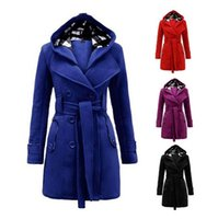 bamboo belt - New Winter Women Warm Double breasted Hooded Belt Long Slim Jacket Coat Outwear Wool Coat Belted Button Pockets Outwear Jacket Overcoat