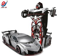 rc control robot - 2016 Hot Sell Production RC Deformation Robot Car Rechargeable Remote Controlled One Key Deformation G CH Radio Control Toys