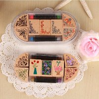 Wholesale ink pad pen set DIY Vintage Wooden Classic Flower Sta mp for Scrapbooking Gift
