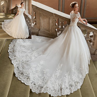 arab dress women - Luxury Church Wedding Dresses Lace Arab Off Shoulder Women Ivory Country Western Bridal Gowns Tulle Long Train Z673