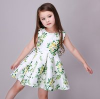 Wholesale 2016 Fashion Summer Girls Vest Dress Flora Flower Birthday Party Formal Dress Lovely Princess Kids Cloth Dress Green K7427