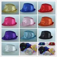 Wholesale Adults Sequins Jazz Hat led Caps LED Stingy Brim Hats Fedora Hats Fedoras Magic Show Hat Christmas Halloween Party LED Cap D821