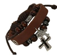 american leather direct - Fashion women Christian Cross leather bracelet jewelry Unisex turquoise beads bracelets christmas gift factory direct colors