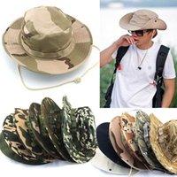 Wholesale New Unisex Bucket Hat Boonie Hunting Fishing Outdoor Cap Wide Brim Military Boonie Hat
