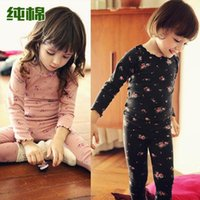 Wholesale Hot retail whoelsale new autumn winter children clothing kids girls Floral tracksuit cotton children thermal underwear sets