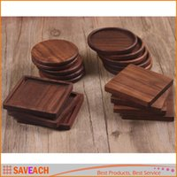 Wholesale Natural Wood Coasters Real Black Walnut Wood Slices Round Square Wooden Cup Mugs Coasters Mat Pad Holder