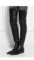 Wholesale runway U068 black genuine leather roland stretch pointy zip back thigh high flat boots