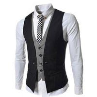 Wholesale 2016 False Two Piece Men s Single Breasted Breasted Waist Coat Slim Fit Casual V Neck Classic Men Suit Vest