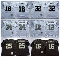 Wholesale 2016 Black White Bo Jackson Throwback Jerseys Ken Stabler Jim Plunkett Marcus Allen Retro Uniforms Fred Biletnikoff