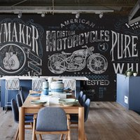anti rolling bar - Personality retro fist large mural motorcycle locomotive restaurant cafe bar background wallpaper