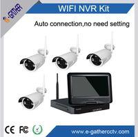 Kit de sécurité Wifi 960P 4CH avec moniteur de 10 pouces Système de caméras de surveillance sans fil H.264 Installation facile Connexion automatique Pas besoin de se distinguer
