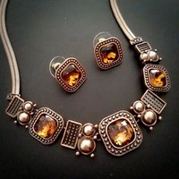 Celtic banquet costume jewelry - necklace earrings vintage Jewelry set anitique costume Jewelry set party banquet NJ Rihood