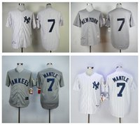 Wholesale Mickey Mantle Jersey Cheap New York Yankees Mickey Mantle Throwback Baseball Jersey High Quality Stitched Jerseys Embroidery Logo