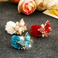 acrylic rose ring - 2016Top Quality Adjustable Resin Cocktail Rings for Women K Gold Plated Rose Flower and Butterfly Party Rings Bague Femme
