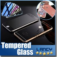 Wholesale Colored Screen Protectors - Gold Mirror Effect Colored Tempered Glass Colorful Screen Protector Front and Back For iphone 6 Plus 6s plus High Quality Explosion Proof