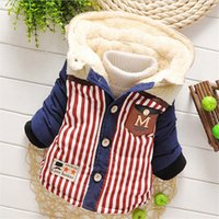 Wholesale Autumn Winter fashion Baby pocket Striped Warm Coat Outerwear Parkas Snow Wear baby boy Clothing