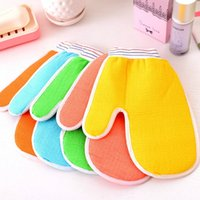 Wholesale 10pcs High quality colorful Fingers Bath Gloves Cloth Mitt Exfoliating Face or Body Bath Scrubbers Moisturizing gloves