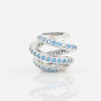achat en gros de charme européen aquamarine-Silver Charm Perles Fit européenne Bracelet Pandora Jewelry bricolage 925 Argent perles originales Aquamarine pierre creuse Charm femmes Bijoux