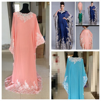 Cheap Plus Size Column Vintage Arabic Kaftan Royal Blue Evening Prom Dresses 2017 Lace Appliques Abaya Dubai Chiffon Mother Of The Bride Formal