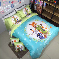 Wholesale 2016 New Arrival Zootopia Nick and Judy Printed Queen Size Egyptian Cotton Bedding Set Duvet Cover Set