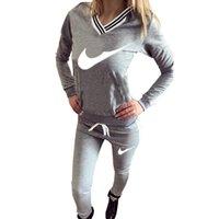 Wholesale 2016 Spring Famous Brand Printed Letter piece Sport Suit Casual Sweatshirt Women Tracksuits set jogging femme Hoodies and pant