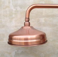 "Wholesale Copper Shower Faucets Controls - 8"" inch Round Antique Red Copper Rainfall Bathroom Rain Shower Head Wsh054"