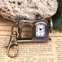 Wholesale 2016 Creative Relojes Retro Metal Sewing Machine Pendant Necklace Chain Pocket Quartz Classic Clock Steampunk Watch Key Ring Special Gift