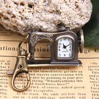 venda por atacado sewing machine-2017 Creative Relojes Metal Retro Máquina De Costura Pingente Colar Cadeia De Bolso Quartzo Clássico Relógio Steampunk Relógio Chaveiro Presente Especial