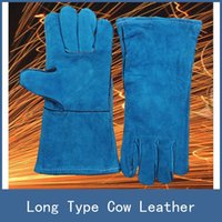 Wholesale 7 Colors Newest Stretch Long Type Antiwear Cow Leather Safety Protective Welding Work Gloves for Building Site Welder Soldering